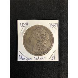 1889 U.S.A MORGAN SILVER DOLLAR