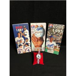 COLLECTIBLE MONTREAL EXPOS MEDIA GUIDES 1995-96-97 w/ 90's ERA L.A DODGERS WRIST WATCH