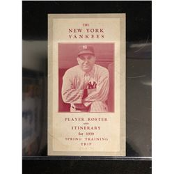 1939 NY YANKEES SPRING TRAINING ROSTER & ITINERARY (GEHRIG/ DiMAGGIO/ GOMEZ...)