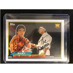 """RICKY """"THE DRAGON"""" STEAMBOAT SIGNED TOPPS WWE LEGENDS TRADING CARD"""