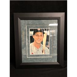 STAN MUSIAL FRAMED PHOTO W/ FACSIMILE AUTO (16 X 20)