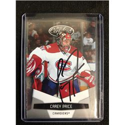 CAREY PRICE SIGNED CERTIFIED HOCKEY CARD