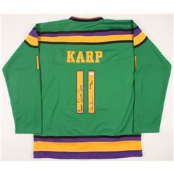 "Aaron Schwartz Signed ""The Mighty Ducks"" Jersey Inscribed ""Quack Quack Quack"" & ""Karp"" (JSA COA)"