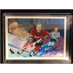 GUY LAFLEUR SIGNED SCORE HOCKEY CARD