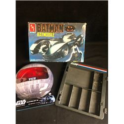 MISCELLANEOUS TOY LOT (BATMAN MDOEL KIT/ STAR WARS GIFT TIN...)