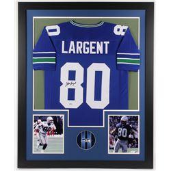 Steve Largent Signed 35x43 Custom Framed Seahawks Jersey (Beckett COA)