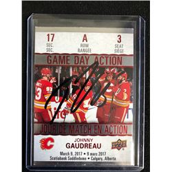 JOHNNY GAUDREAU SIGNED UPPER DECK GAME DAY ACTION HOCKEY CARD