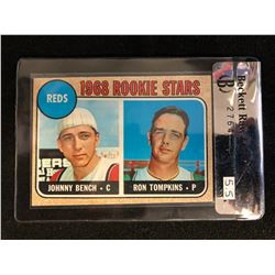 1965 TOPPS #247 REDS ROOKIE STARS JOHNNY BENCH RC (BECKETT RAW REVIEW 5.5)