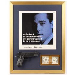 "Henry Hill Signed ""Goodfellas"" 21x27 Custom Framed Photo Display w/ Replica Gun & Prop Money PSA COA"