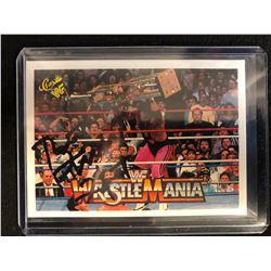 "BRETT ""THE HITMAN"" HART SIGNED CLASSIC  WWF WRESTLEMANIA TRADING CARD"