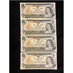 1973 $1 UNCIRCULATED SEQUENTIAL CANADIAN BANK NOTES .