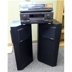 Technics Dolby Turntable, Cassette Deck & Receiver SA-QX770 w/ 2 BOSE 401 Speakers