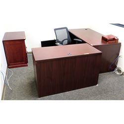 2 Section Wood Office Desk w/ Wooden & Metal File Cabinets, Rolling Chair, etc