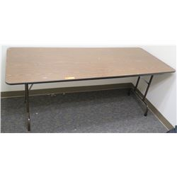 Folding Portable Pressed Wood Table w/ Metal Legs