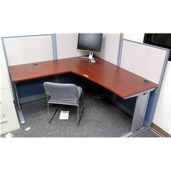 "2-Piece ""L"" Shaped Desk, Chair & Cubicle Walls (tall wall approx. 63""W & 63""H, short walls 63""x47"")"