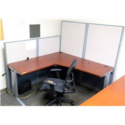 "Office 2 Piece ""L"" Shaped Wood & Metal Desk w/ Rolling Chair & Cubicle Walls"