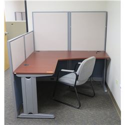 "Office 2 Piece ""L"" Shaped Wood & Metal Desk w/ Chair & Cubicle Walls"