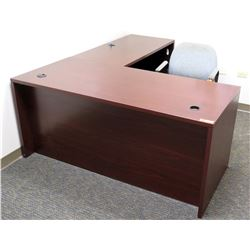 "Office 2 Piece ""L"" Shaped Wood & Metal Desk w/ Stationary Chair"