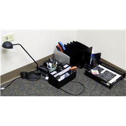 Multiple Misc Office Sorters, Organizers, Desk Lamp, Tape Dispensers, etc