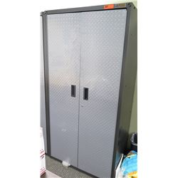 Gladiator Diamond Plate Cabinet GAJG36FDYG03 Gearbox Cabinet w/ 3 Shelves 3ftW x 2ftD x 6ft Tall