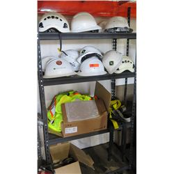 Multiple Misc White Construction Hard Hats & Neon Yellow Safety Vests