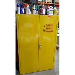"""Metal Yellow 2-Door Cabinet w/ 3 Shelves & Contents - Paint, Thinner, Bug Spray, etc 43"""" x 18""""D x 65"""