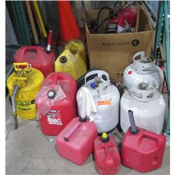 Qty 7 Gas Cans - 2 Metal & 5 Red Plastic & 2 Propane Tanks