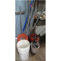 Multiple Misc Steel Pipe & Buckets of Short Pipe, Fittings & Misc