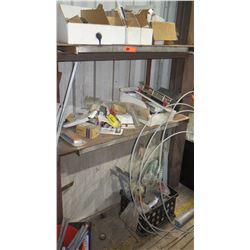 3 Tier Metal Shelf w/ Contents - Misc Fittings, Crimp Tools, Electric Meter, etc