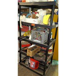 4 Tier Plastic Shelf w/ Contents - Misc Tools, Fittings, Nylon Strap, etc