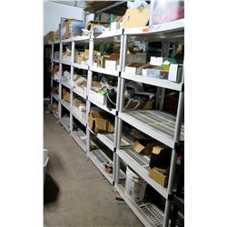 Qty 5 Plastic 4-Tier Shelves w/ Contents - Dottie Bolts, Screw-In Anchors, Drill Bits, etc