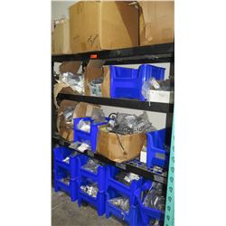 3 Tier Metal Shelf w/ Contents - Bus Bars, Ground Bars, Adapters, Cables, etc