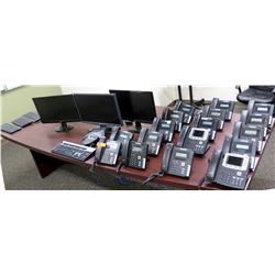 Approx. 17 Crexendo Phone Units & Polycom Conference Unit w/ 3 Computer Monitors & Keyboards
