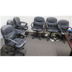 Qty 6 Rolling Black Office Chairs on Wheels (Shows Some Wear)