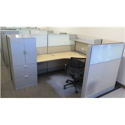 Qty 6 Desks w/ Rolling Chairs, Filing Cabinets & Cubicle Walls (Buyer Needs to Disassemble)