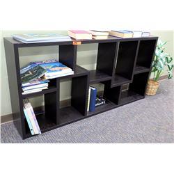 """Black Wooden Multi-Tier Display Shelf w/ Misc Books 71""""L x 11.5""""D x 35""""H"""