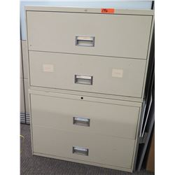 """Qty 2 Stacked Beige 2-Drawer Lateral File Cabinets (36""""W x 18.5""""D x 25.5""""H)"""