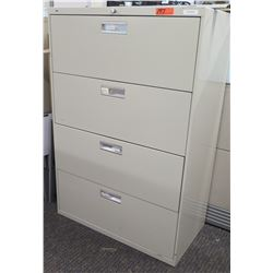 """Beige 4-Drawer Lateral File Cabinet 36""""W x 18.5""""D x 53""""H"""