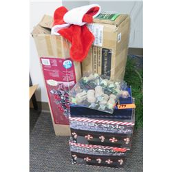Qty 2 Christmas Trees, Candy Cane Lights, Misc Ornaments & Decorations