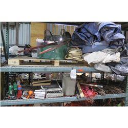 Contents of Shelving: Wheelbarrow, Rebar, Hose, Tarps, Black Storage Cases w/ Wheels, etc.