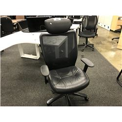 BLACK MESH BACK FULLY ADJUSTABLE TASK CHAIR WITH HEAD REST
