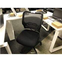BLACK MESH BACK FULLY ADJUSTABLE TASK CHAIR, NO ARMS