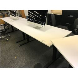 WHITE 5' ADJUSTABLE HEIGHT TECH BENCH, MISSING CRANK HANDLE