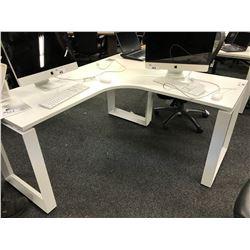 WHITE 5.5' X 5.5' CORNER COMPUTER DESK