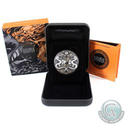 2019 Tuvalu $2 Double Dragon 2oz .9999 Fine Silver Antiqued Coin (TAX Exempt)