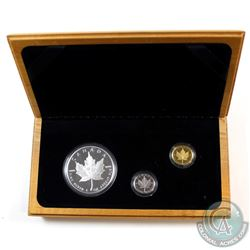 1979-1989 Canada Maple Leaf 1oz Silver, 1/10oz Platinum & 1/10oz Gold 3-Coin Set (missing outer box