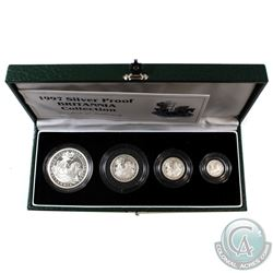 Scarce 1997 Great Britain 4-coin Britannia Fine Silver Proof Collection. You will receive 1oz, 1/2oz