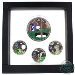 "Scarce 2012-2014 Cook Islands $5 PGA Tour ""Heritage - Sportsmanship - Respect"" Golf Coloured Coin Se"