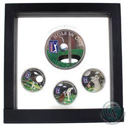 "Scarce 2012-2014 Cook Islands $5 PGA Tour ""Heritage - Sportsmanship - Respect"" Golf Coloured Coin Se"