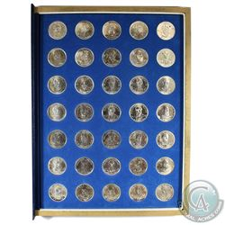 *Franklin Mint Presidential Sterling Silver 35-Medallion Set in Blue Album. The set features all U.S